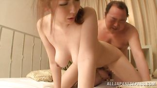 Naughty bosomed playgirl Aoi Aoyama receiving this lad's balls deep