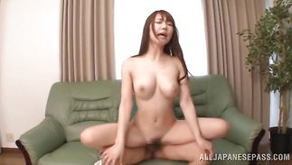 Dissolute bosomed mature bombshell Azumi Kinoshita got fucked in the bum while she was wearing nothing