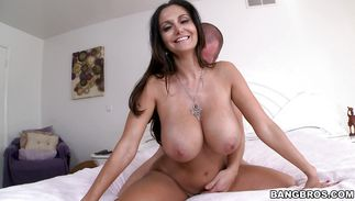 Sensual mature brown-haired Ava Addams and mate are having casual sex in various places all day long