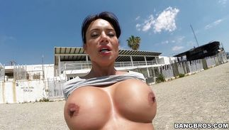 Astounding busty latin brown-haired mom Franceska Jaimes strips her clothes and spreads twat