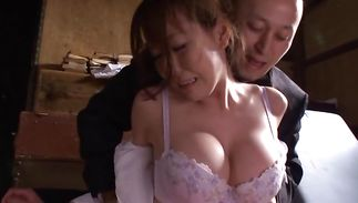 Dishy big boobed Reiko Sawamura gags on the playmate's meat rocket