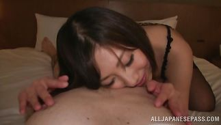 Vehement Kanari Tsubaki got screwed in the bum after she was done with sucking playmate's meat