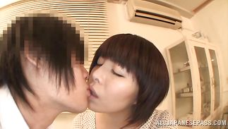 Indecent mature minx Rin Ogawa with impressive tits getting properly plowed by her overly randy boy-friend