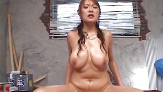 Lovely bosomed beauty Betty Lin loves getting her juice pussy fucked with effort