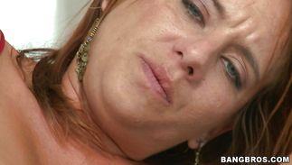 Naked horny redhead cougar Olivia Sinclair is getting banged in the midst of the day just for the joy of it
