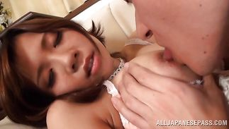 Marvelous mature girlfriend with curvy tits sucks a large cock and rides it vigorously