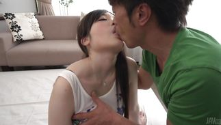 Slender mature Rie Tachikawa with giant tits is fucking paramour and enjoying it although she was supposed to go to work