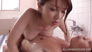Mature honey Yui Hatano with big tits gives her beguiling tang for a brutal pal