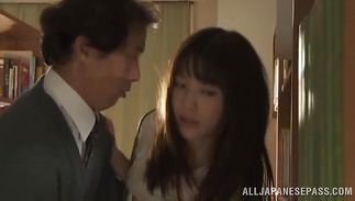 Appetizing older Miku Sunohara sucks and bonks a hard shaft