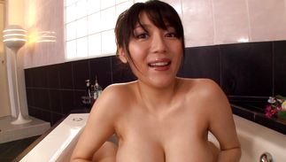 Carnal chick Miho Ichiki with huge tits gets used up by the fucker to be fucked