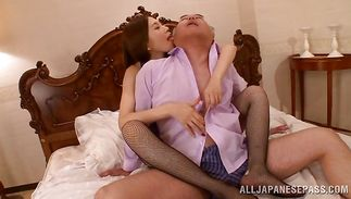 Love rocket loving insatiable chick Asami Ogawa is eagerly sucking a huge wang and getting it inside her lovebox