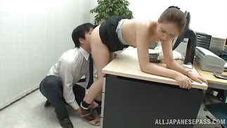 Shameless playgirl Yurie Matsushima feels a large boner before bending over