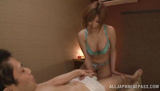 Tasty big boobed Reira Akane on his cock rocks the chair