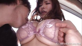 Gorgeous big titted mature Anri Okita vigorously hops on a man's hard cock