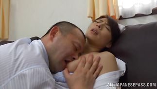 Astonishing older Hisae Yabe is eagerly rubbing her pie while getting ready for having sex with fuckmate