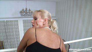 Busty mature blonde hottie Winnie is delectable receives a rod in hr tight pussy