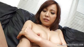 Angelic housewife Ryouka Yuzuki plays with her palatable pussy all alone