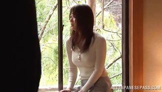 Playful mature bombshell Akari Hoshino and her passionate boyfriend have a enjoyment making love