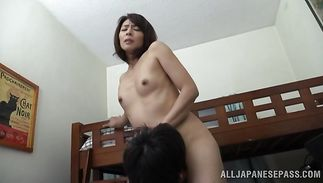 Awesome mature Hisae Yabe gives her pal a oral-stimulation job