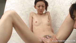 Goluptious mature cutie Yui Natori is pleased by her fellow's dick