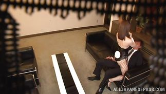 Horny bf have slender playgirl Yuria Ashina bounce on his hard one-eyed monster