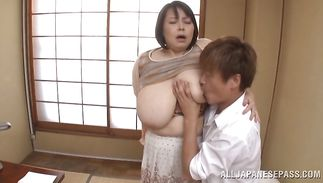 Prodigious girlie Misuzu Tomizawa puts a biggest sausage in her juicy mouth