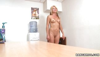 Large meat bazooka is making fleshly mature woman Jenny Hamilton ride it hard