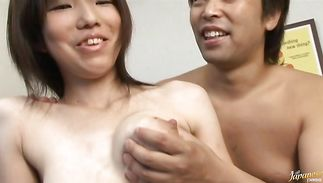 Beautiful maiden Aya with great tits spreads wide for a large boner