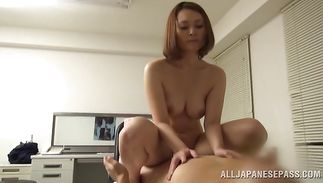 Stunning busty mature girlie Mitsuki Asuka bows over to get her needy cunt fingered