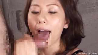 Mesmerizing mature beauty Yuma Asami blows a large one-eyed monster with vigor