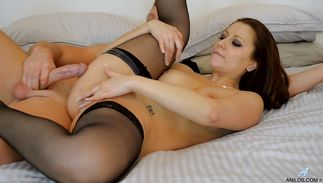 Aroused sweetie Lara Jade Deene wears a frilly suit whilst being spit-roasted