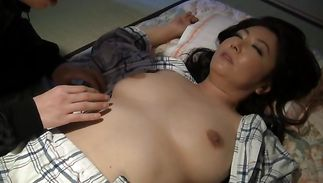 Astonishing big titted maid joyfully reveals her smooth slit