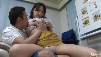 Shameless big titted mature Ai Kanazaki is ready for the 1st fuck session of the day