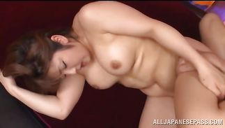 Big titted cougar Shiori Kamisaki is exquisite and she enjoys sucking a large phallus
