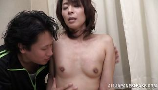 Delightful mature Hisae Yabe fiercely rides a firm prick after the casting