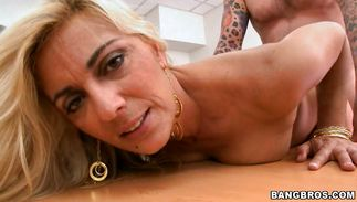 Fascinating blond maid Jazella Moore takes cock in her delicious pierced pussy