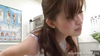 Playful mature Miki Ishihara gets her unshaved clam smashed hard