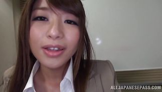 Sinful big boobed mature Ayu Sakurai takes his slick pecker then gets off
