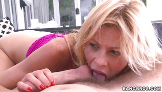 Sassy mature Alexis Fawx with big tits discovered the perfect boner and has to ride it