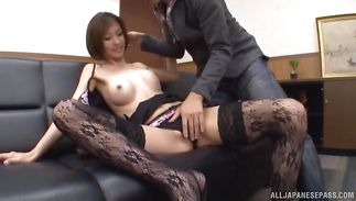 Enchanting Akari Asahina sucks and rides a small prick