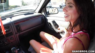 Wanton mature latin Ariella Ferrera gets throat fucked previous to riding penis