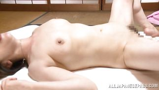 Staggering mature babe Mika Matsushita gives a wet blowjob in advance of bending over