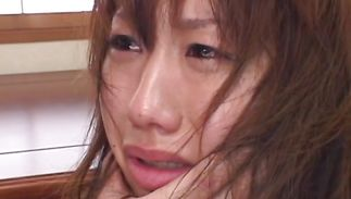 Wicked older Ren Hatano is kneeling on the floor and sucking stranger's love rocket