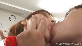 Lustful Reira Aisaki lusts for a huge rod to suck