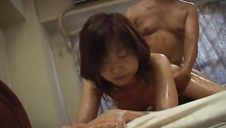 Striking aged Mai Yamasaki with biggest tits has her slim twat eaten out