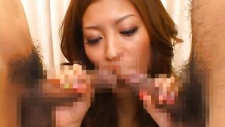 Goluptious maiden Yuki Asada fucked by her mate's pulsating weenie