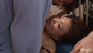 Engaging bosomed lady Reiko Nakamori gets her wet cunt pleasured
