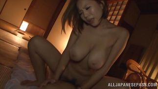 Sex appeal diva Ruri Saijo with impressive tits receives a large jock in her juicy pussy