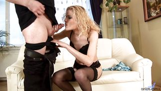 Swingeing Scarlette Sax is gently sucking stud's prick and getting ready to get fucked valuable