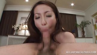 Aoi Aoyama is seductive and that babe enjoys sucking a large slim jim